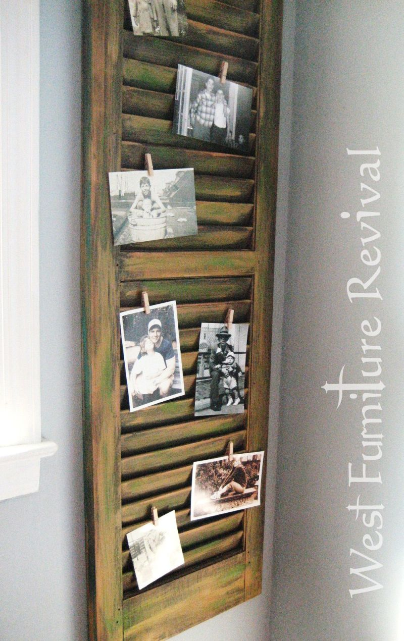 Old wood shutter turned into email organizer