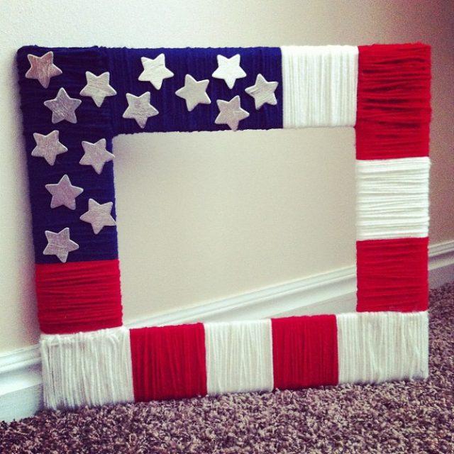 DIY picture frame Patriotic Yarn Frame