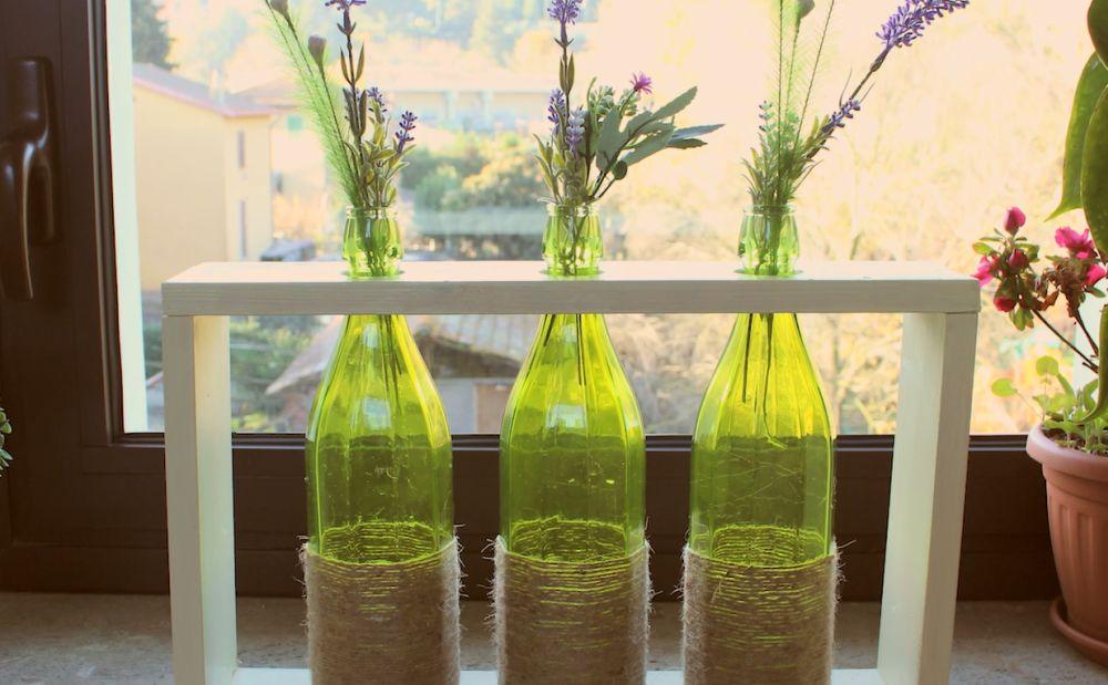 Rope wine bottles flower vase