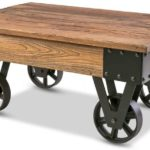 Rustic Country Coffee Table with Metal Wheels and Storage