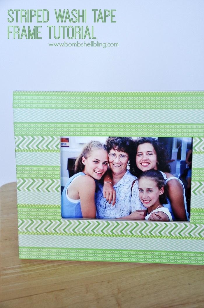 DIY picture frame Striped Tape Frame