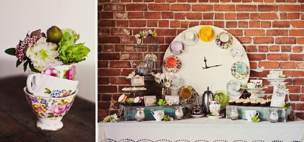Tea cups clock and flower vase