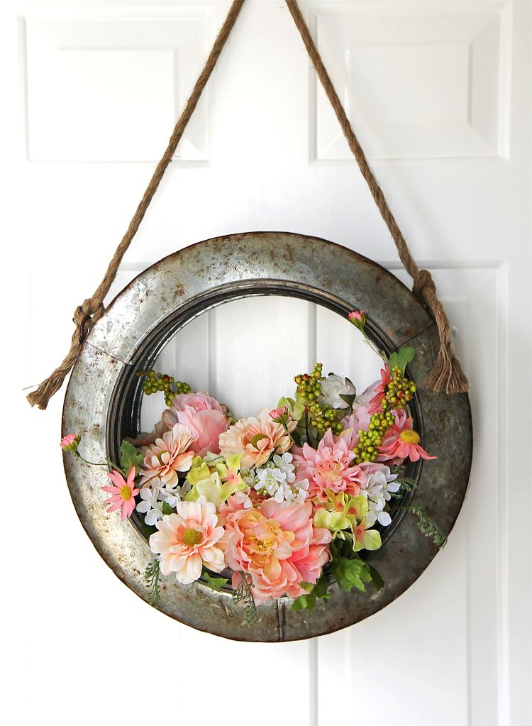 Turn an old tire into a hanging wreath