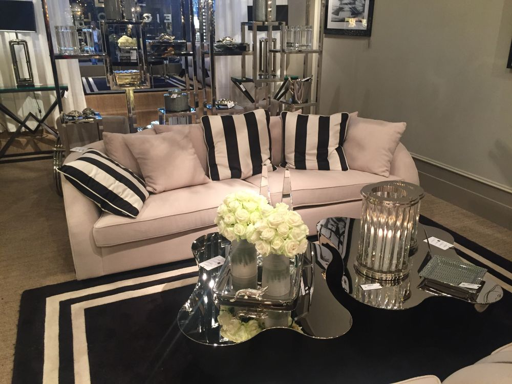 This coffee table pair looks really classy, especially with all the other details around it such as the stripes