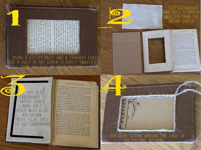 DIY picture frame Use Vintage Books As Frames
