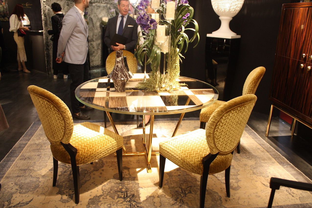 The color, texture and shape come together in a glamorous dining set.