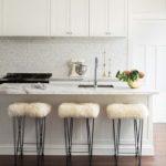 White marble tile kitchen marble island
