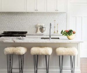 White marble tile kitchen marble island