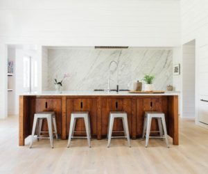 White shiplap kitchen wood floor wood island