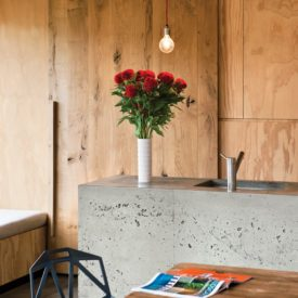 Wood walls paneling and cement kitchen island