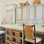 wicker baskets under kitchen island for storage