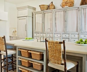 Wicker Baskets Under Kitchen Island For Storage
