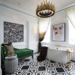 Artistic Designs For Living Bathroom design with a Day Green Bed and modern Black white Floor