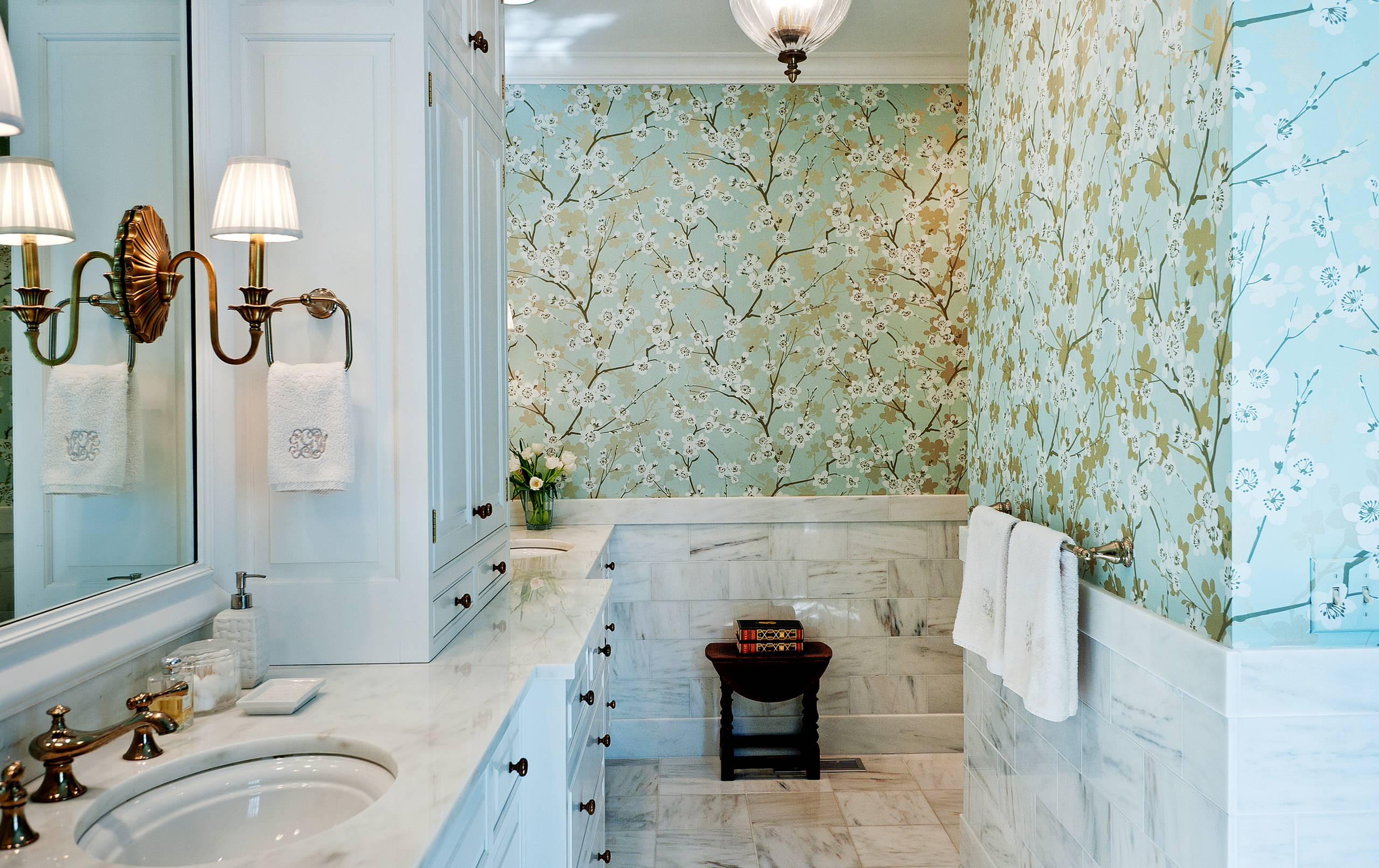 Wallpaper Over Bathroom Tiles. View In Gallery