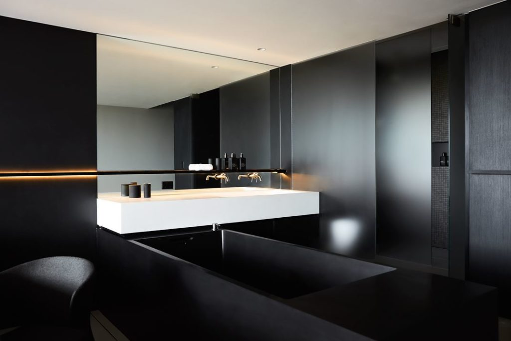 A dark color palette and matte surfaces are modern and extravagant.
