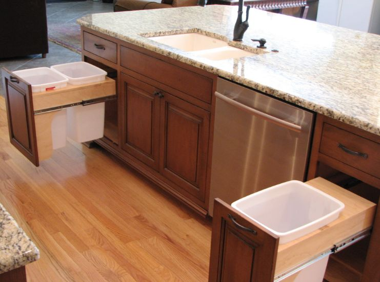 Kitchen Island With Hidden Trash Bin