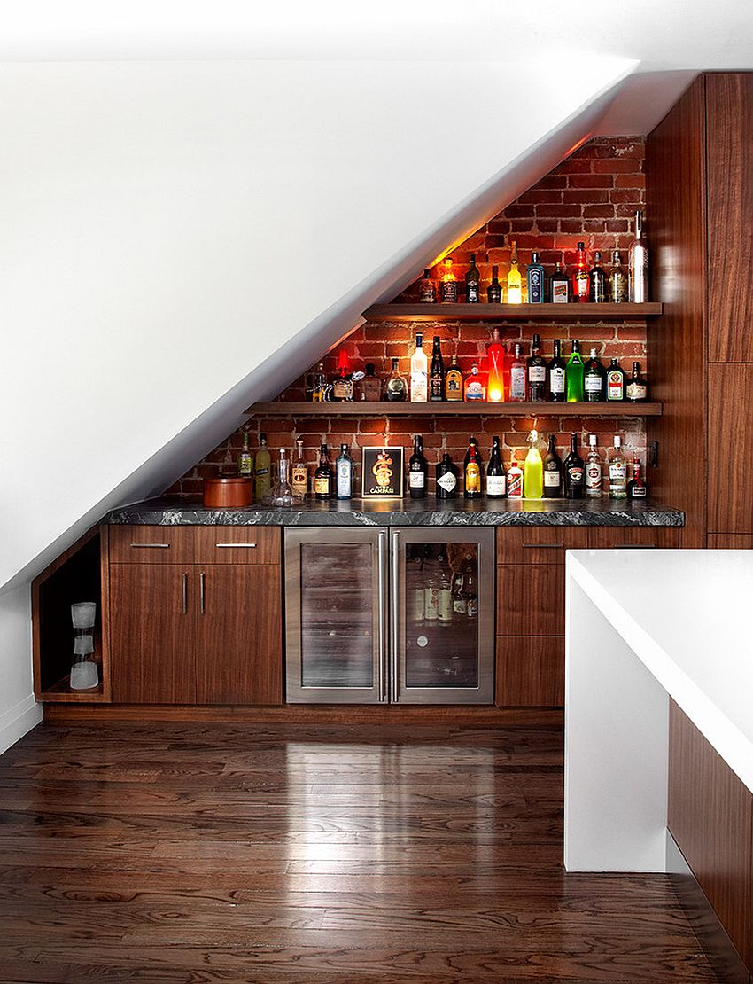 Build an Under The Stairs Bar basement bar