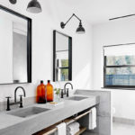 Cement bathroom vanity countertop design and black faucet