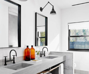 Cement bathroom vanity countertop design and black faucet