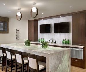 Chic Basement Bar TV Backsplash Marble Counter