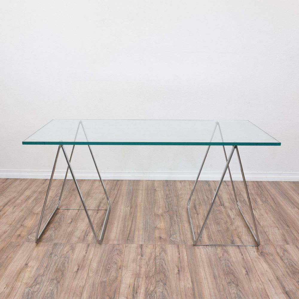 Glass top desk glass top table desk 100 2 tier desk desk for Two tier desk ikea