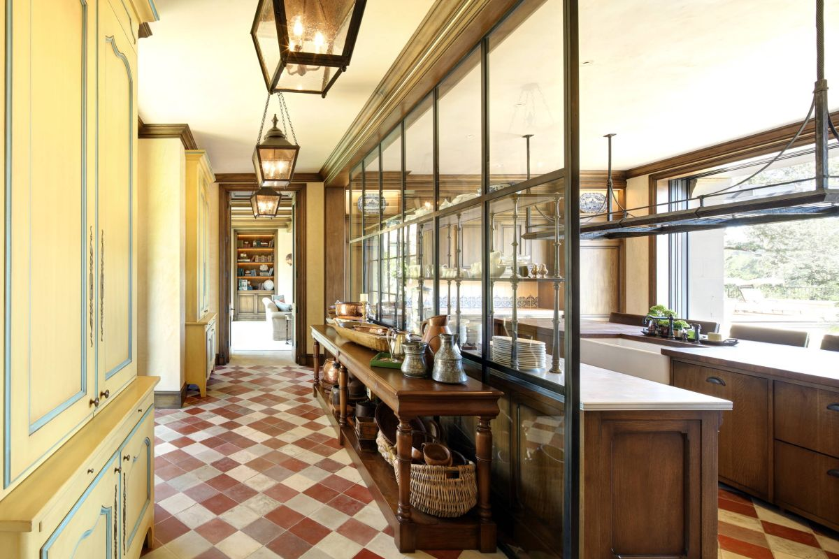 Glass wall in a galley kitchen.