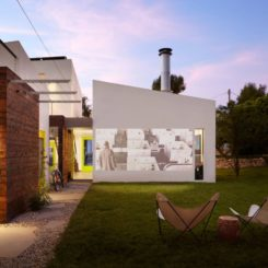 Contemporary backyard movie theater house
