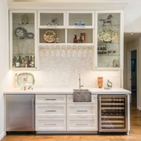 Contemporary basement bar glass cabinet fronts