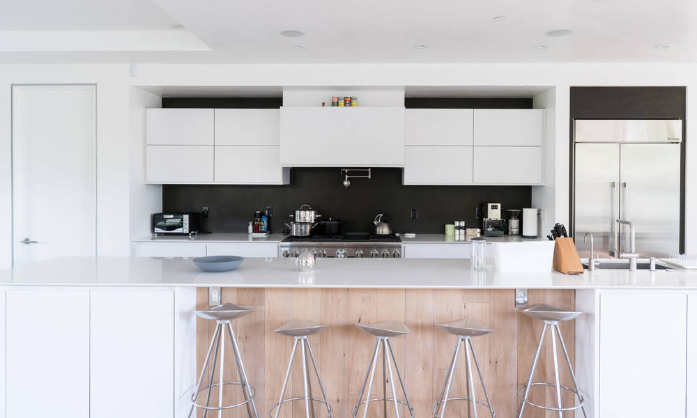 Add a pop of black to a small kitchen.