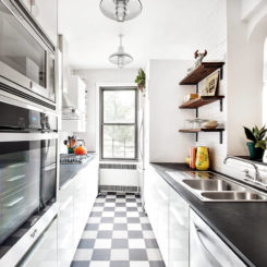 Contemporary kitchen white glossy cabinets