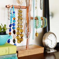 Cooper pipe jewelry table stand