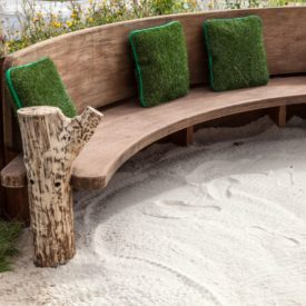 Modern wood finished blocks bench for garden