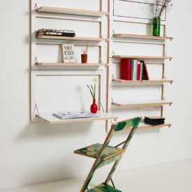 Customizable Wall Mounted Shelving From AMBIVALENZ with desk