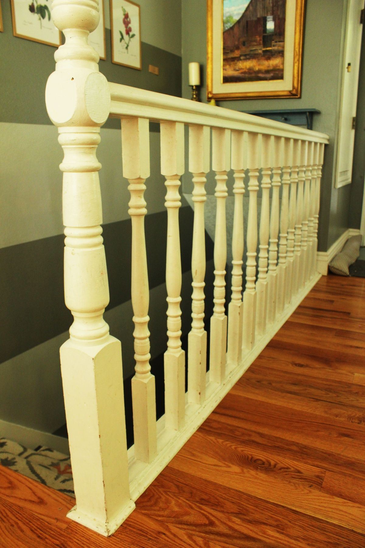 DIY Stair Railing - white painted