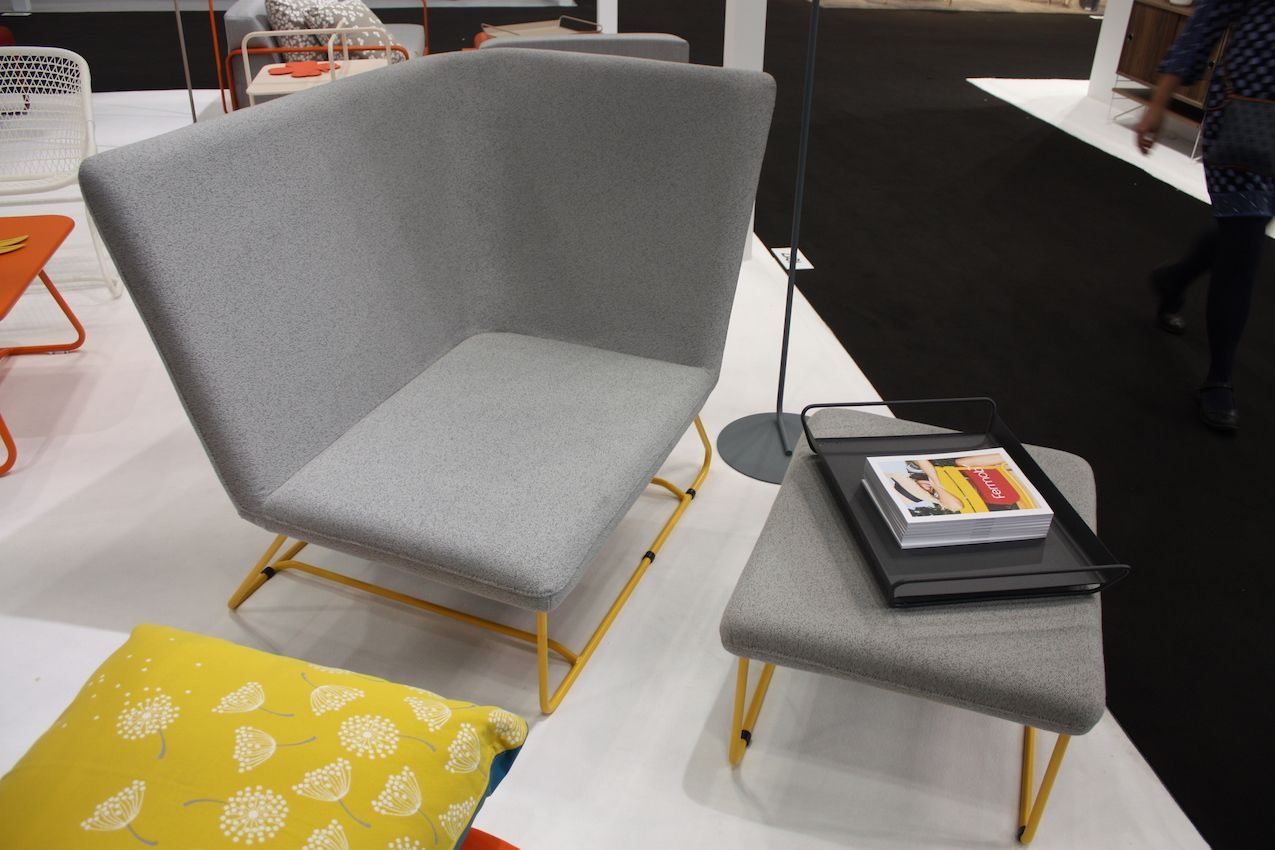 The cool design is a combination of a gray neutral and brightly colored frame.