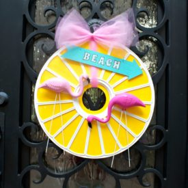 Flamingo Door Wreath Made from a Ceiling Medallion - front door