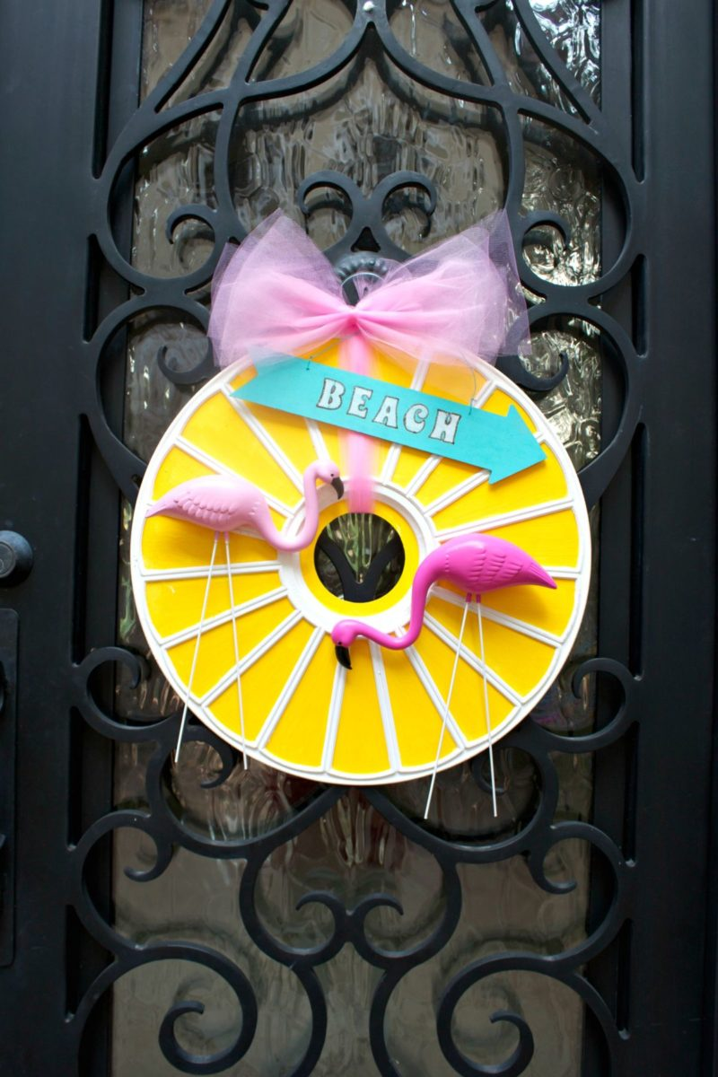 Flamingo Door Wreath Made from a Ceiling Medallion