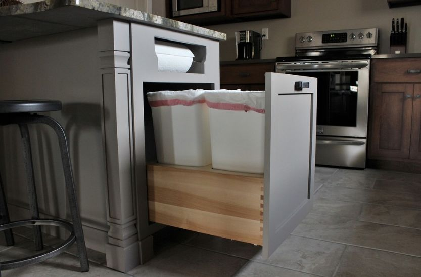 Hidden Pull Out Drawer Inside The Kitchen Island