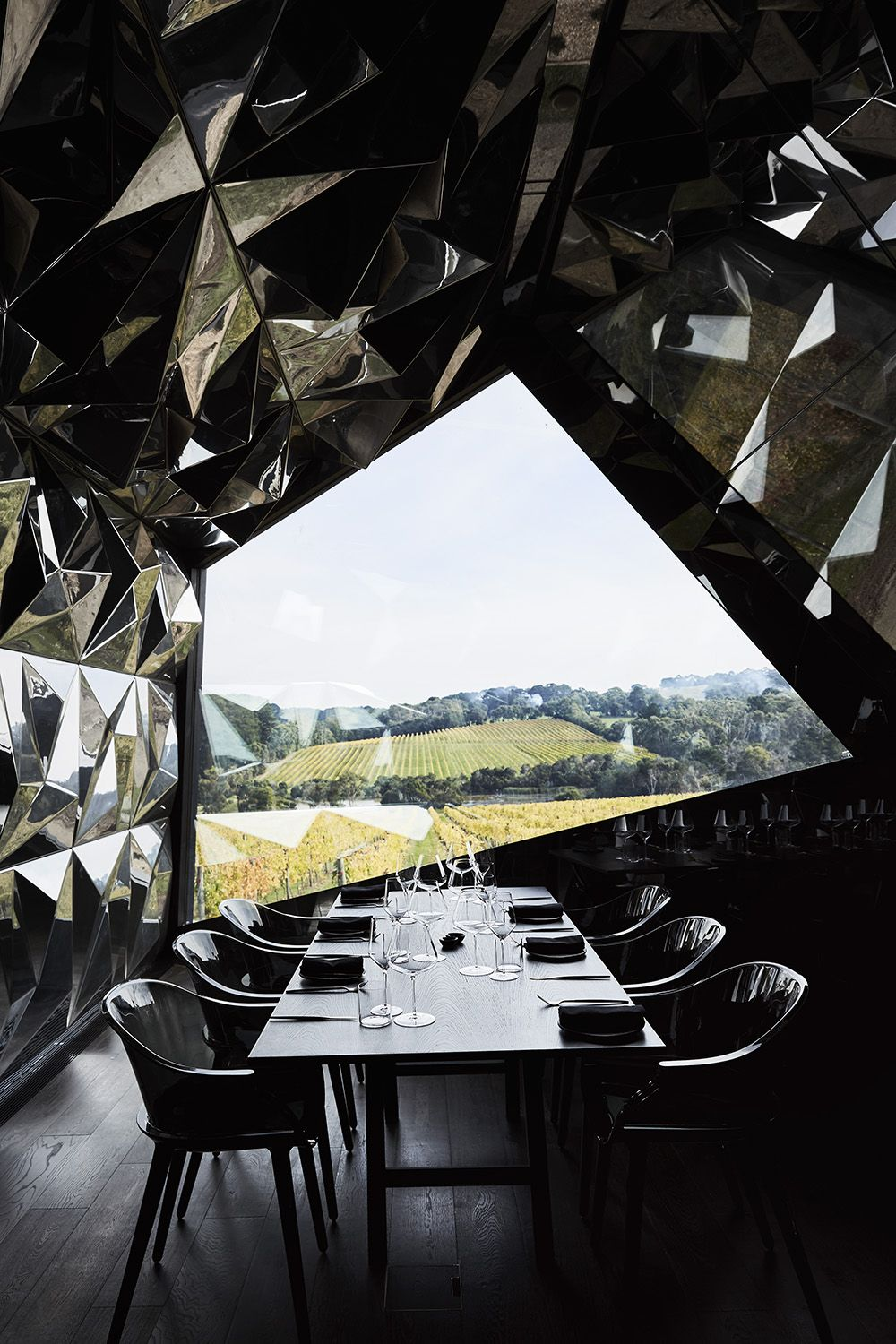 Inside the Geode, private dining has a view.