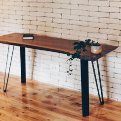 Live edge reclaimed wood desk table