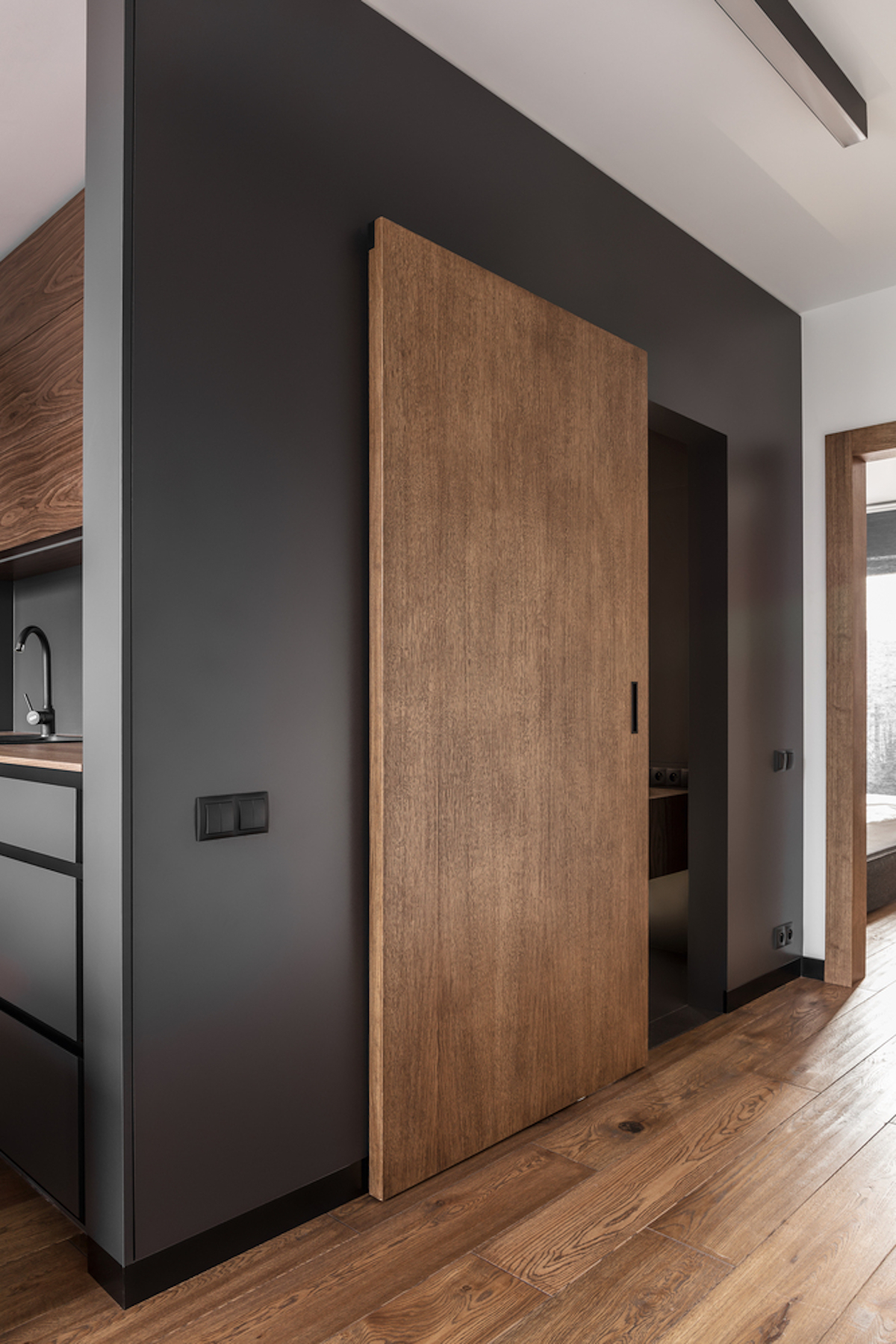 The large wooden door matches the floor and ensures cohesiveness throughout the apartment
