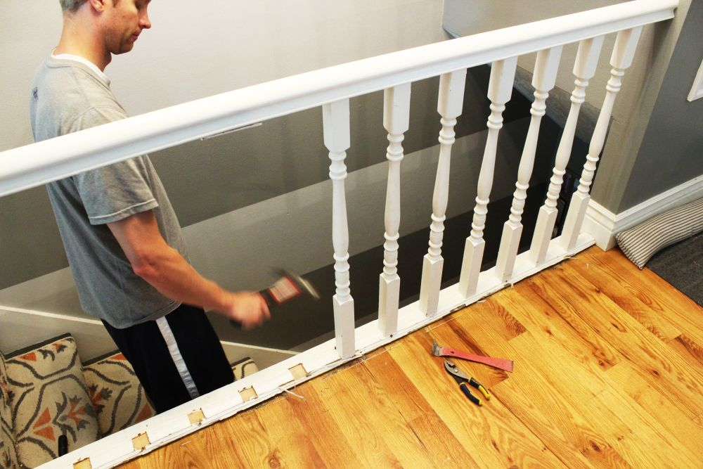 Diy Stair Handrail With Industrial, How To Install Laminate Flooring On Stairs With Spindles