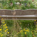 Old wood bench seating for garden