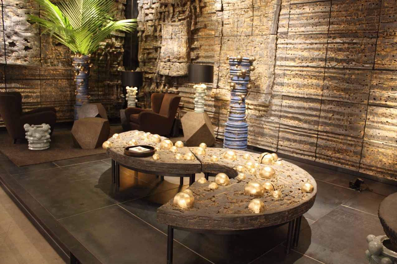 The serpentine -- and moveable -- coffee table is simply stunning.