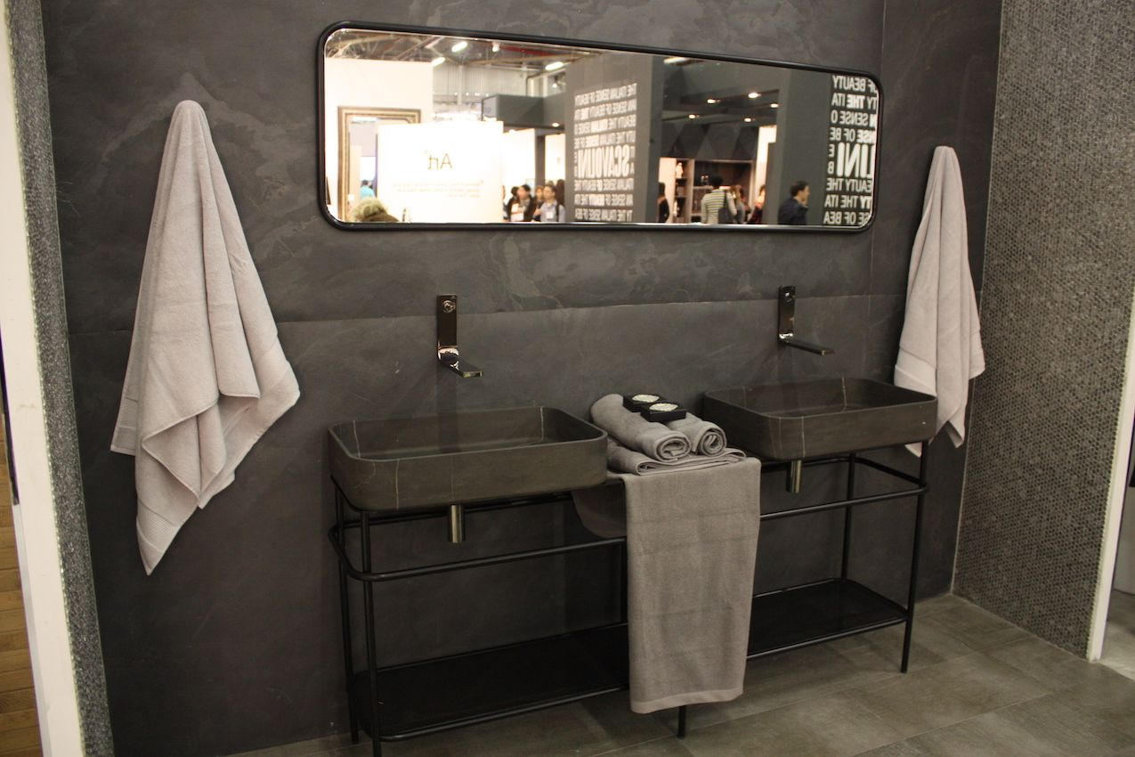 This cool design looks best with the open vanity.