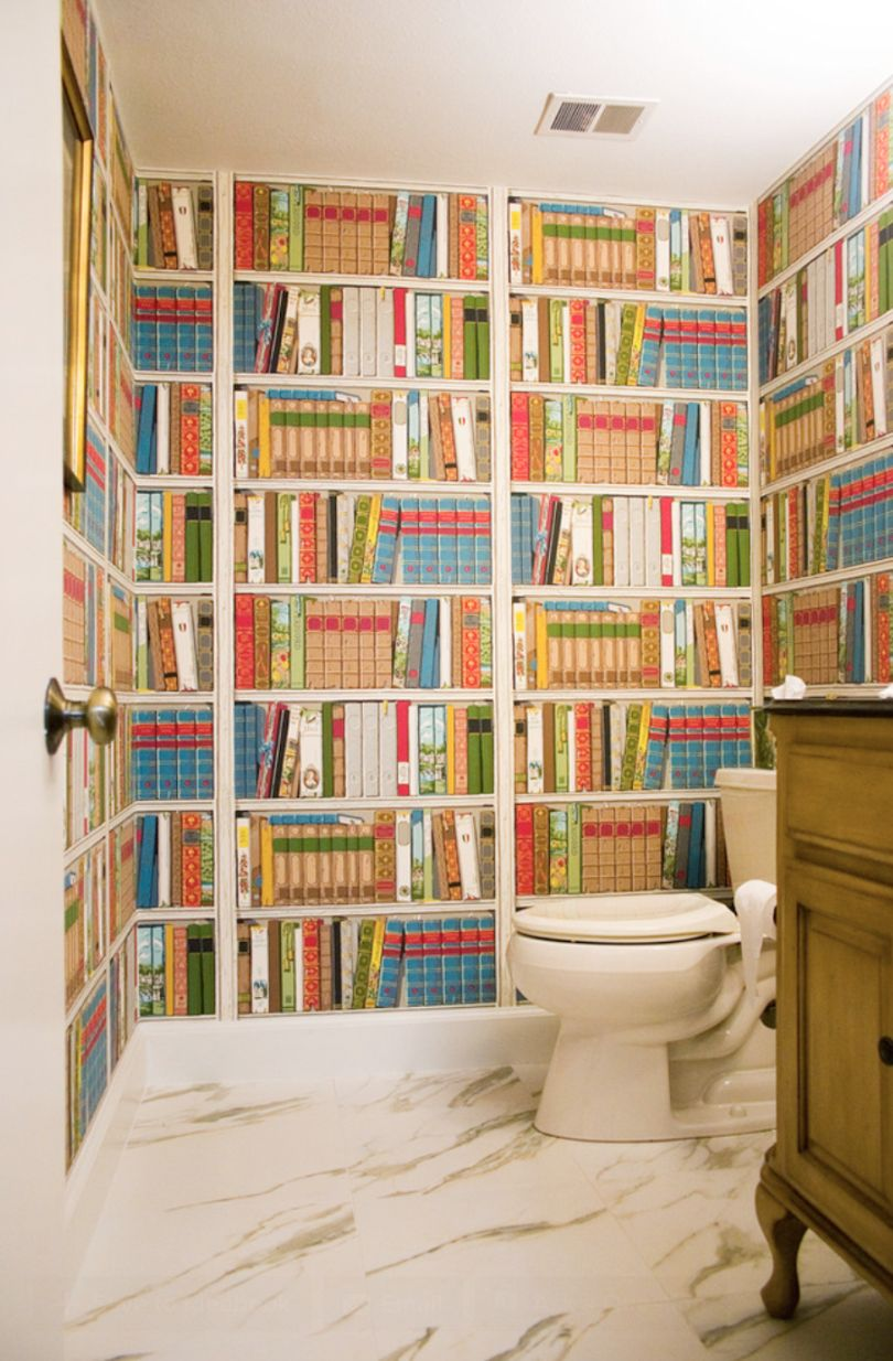 Powder room library books wallpaper