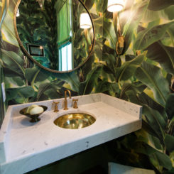 Powder room tropical leaves wallpaper