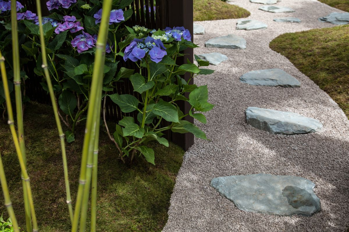 You could have a gravel pathway with stones placed here and there, close enough to each other to form steps