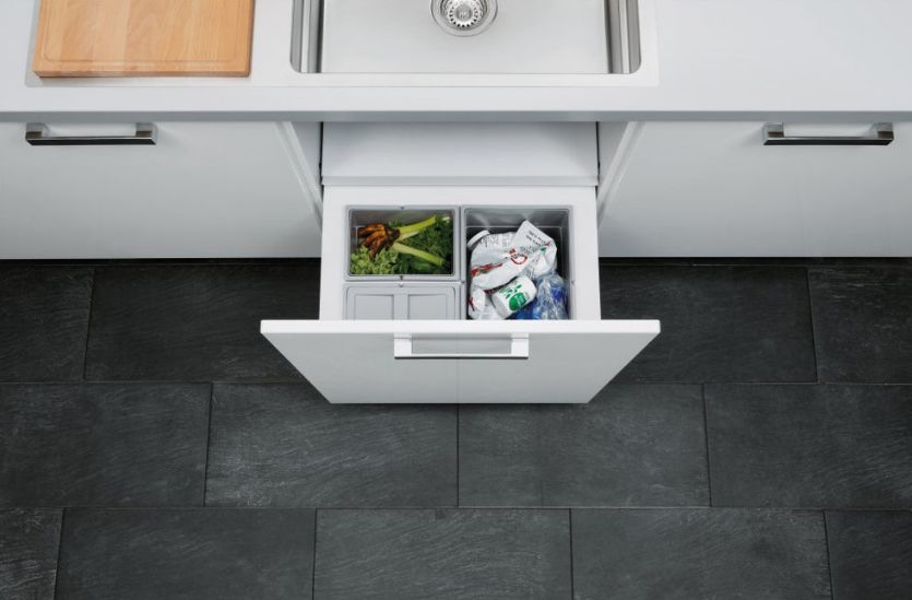 separate bins for selective trash collection - Kitchen Trash Can Ideas