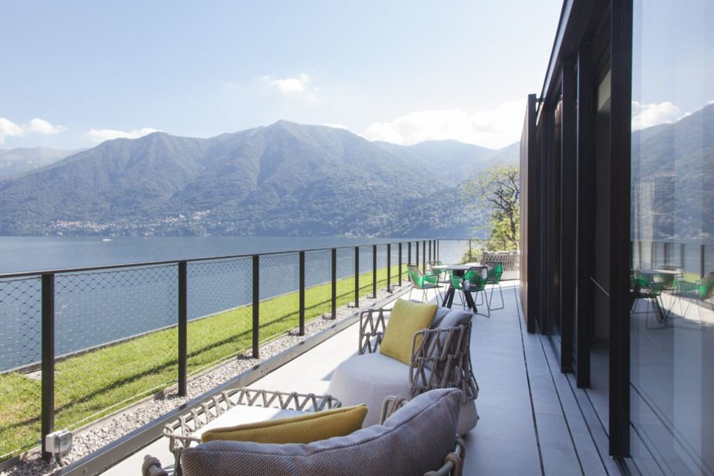 The prime location offers unparalleled views of Lake Como.